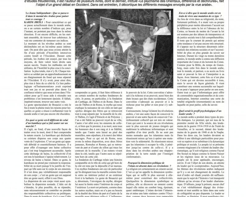 Entrevue du jeune indépendant, journal algérien, avec Karim Jbeili
